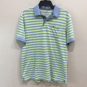 Vineyard Vines pique polo blue and green